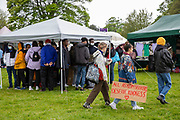 About 200 campaigners from different local groups came together today for a festival of solidarity with residents of Napier Barracks, a former military barracks that is being used as an assessment and dispersal facility for asylum seekers by the Home Office on the 21st of May 2021 in Folkestone, Kent, United Kingdom. (photo by Andrew Aitchison / In Pictures via Getty Images)
