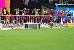 London, 2017 August 07. Omar McLeod, Jamaica, storms to victory in the Men's 110m hurdles final on day four of the IAAF London 2017 world Championships at the London Stadium. © Paul Davey.
