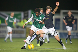Hibernian's Dominique Malonga and Falkirk's Will Vaulks. Falkirk 0 v 1 Hibernian, Scottish Championship game played 20/10/2015 at The Falkirk Stadium.