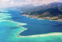 Aerial view of Uturoa, Raiatea, Leeward Islands, French Polynesia