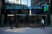 Entrance to Standard Chartered Bank in the City of London. Standard Chartered PLC is a multinational financial services company headquartered in London, United Kingdom with operations in more than seventy countries. It is a universal bank and has operations in consumer, corporate and institutional banking and treasury services.