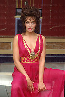 Leslie Ann Down, British actress seen on the set of 'The Last Days of Pompeii. August 1983. Photographed by Terry Fincher