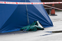 © Licensed to London News Pictures. 04/01/2018. London, UK. Police tent at the scene in Norfolk Road, Ilford, east London. Police were called last night following reports of an unresponsive woman in the street with stab injuries. She was pronounced dead at the scene at 19:16hrs. Photo credit: Vickie Flores/LNP