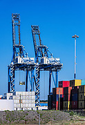 Cargo cranes and shipping containers, Wilmington, North Carolina, USA.