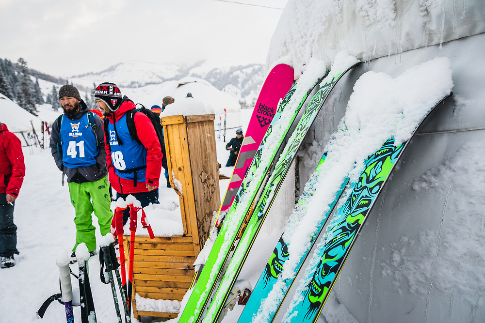 Snow delay at the Yurt Camp - Day 4 Expert/Pro Silk Road Freeride Competition, Jyrgalan, KG.