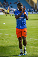 Southend United midfielder Dru Yearwood (16) applauds the fans during the EFL Sky Bet League 1 match between Gillingham and Southend United at the MEMS Priestfield Stadium, Gillingham, England on 13 October 2018.