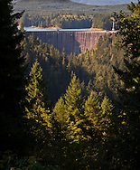 Alder Dam on the Nisqually River holding Alder Reservoir owned by Tacoma Power, Washington, USA  The dam and reservoir was constructed for power and flow control.