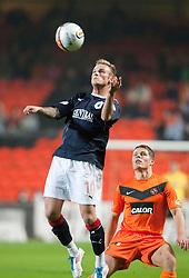 Falkirk's Kallum Higginbotham and John Rankin..Half-time. Dundee Utd 0 v 0 Falkirk. Scottish Communities League Cup, 25/10/2011..Pic © Michael Schofield.