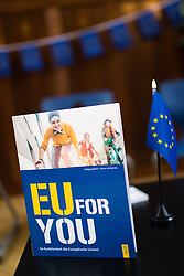 "25.03.2019, Vienna Business School, Wien, AUT, Präsentation des Schulbuchs ""EU for you, im Bild Feature EU for you Buch // during an media briefing with presentation of the shool book ""EU for you"" in Vienna, Austria on 2019/03/25, EXPA Pictures © 2019, PhotoCredit: EXPA/ Michael Gruber"