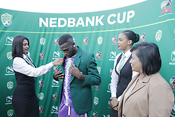 22042018 (Durban) Fortune Makaringe recieve a man of the match when Maritzburg United FC make their way to the final of the Nedbank Cup after walloping 3-1 when playing against Mamelodi Sundowns FC at the Harry Gwala Stadium in Pietermaritzburg; KZN yesterday.<br /> Picture: Motshwari Mofokeng/ANA