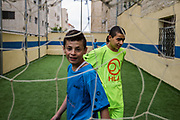There are soccer court and basketball court at Homs League Abroad in Amman, Jordan. They also have sports classes for Syrian refugee student in order to reduce their stress from Syrian Civil War by moving theiir body and having fun. All of their 70 students are refugee from Syria. Either them or their parents experienced war, and their experience is tormenting them by causing  PTSD after lived in  Jordan for more than 8 years. On April 10th, 2018 at Homs League Abroad in Amman, Jordan.
