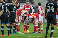 Richie Smallwood (Rotherham United) puts the ball down for a free kick just outside of the Blackburn penalty box as his team mates talk to him during the EFL Sky Bet Championship match between Rotherham United and Blackburn Rovers at the AESSEAL New York Stadium, Rotherham, England on 11 February 2017. Photo by Mark P Doherty.