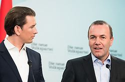 21.09.2019, Bundesparteizentrale, Wien, AUT, ÖVP, Pressekonferenz nach Bundesparteivorstand mit Kandidatenliste für die EU-Wahl. im Bild Bundeskanzler Sebastian Kurz (ÖVP) und EVP-Spitzenkandidat zur Europawahl Manfred Weber // Austrian Federal Chancellor Sebastian Kurz and MEP Manfred Weber (European Peoples Party) during presentation of the candidates for Eurpean Parliment Elections of the Austrian People' s Party in Vienna, Austria on 2019/01/21. EXPA Pictures © 2019, PhotoCredit: EXPA/ Michael Gruber