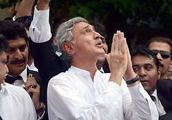 July 28, 2017 - Pakistan - ISLAMABAD, PAKISTAN, JUL 28: Leader of Tehreek-e-Insaf, Jahangir Tareen gesturing .thankful on Panama Case verdict, outside Supreme Court in Islamabad on Friday, July 28, 2017. .The Supreme Court of Pakistan on Friday disqualified Prime Minister Nawaz Sharif while .ordering references in accountability court against him, his children and his son-in-law. The apex .court has ordered the PM to immediately vacate the seat. (Credit Image: © PPI via ZUMA Wire)