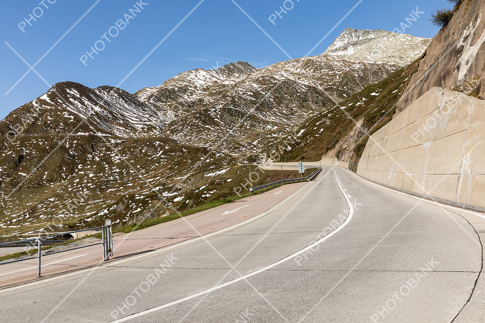 Beautiful panorama of the Gotthard Pass in the Swiss mountains in Ticino. Sunny day, nobody inside