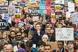 London, February 4th 2017. Protesters in London demonstrate again against Donald Trump's Muslim travel ban and his proposed State Visit to the UK. Organised by anti-racism organisation Hope Not Hate, the march from the US embassy in Grosvenor Square to Downing Street follows the demonstration on Monday 30th January outside Downing Street where a crowd estimated to be 30,000 protested against the same ban. PICTURED: Thousands of protesters fill Whitehall to capacity as a rally is held outside the gates of Downing Street.