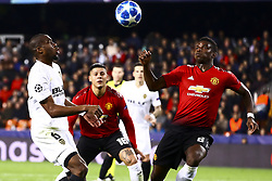 December 12, 2018 - Valencia, Spain - Kondogbia of Valencia CF (L) and Paul Pogba of Manchester United   during UEFA Champions League Group H between Valencia CF and Manchester United at Mestalla stadium  on December 12, 2018. (Photo by Jose Miguel Fernandez/NurPhoto) (Credit Image: © Jose Miguel Fernandez/NurPhoto via ZUMA Press)