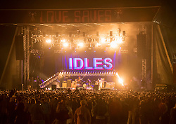 © Licensed to London News Pictures; 03/09/2021; Bristol, UK. Singer JOE TALBOT with IDLES plays the main stage at the Idles on the Downs, where the band Idles will be headlining their Bristol homecoming show. Taking place across three festival-sized stages, the event is a one day festival on the same site on Bristol Downs as Love Saves the Day taking place on Saturday and Sunday. Event organisers Team Love and Simple Things, alongside IDLES, are making available 2,000 complimentary tickets to local NHS workers to say 'thank you' for their amazing work on the frontline of the Covid-19 pandemic.  The festival will also be supporting a range of local community organisations and charities Photo credit: Simon Chapman/LNP.