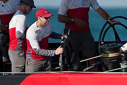 Cameron Appleton on the helm. Artemis Racing (SWE) vs. All4One (GER/FRA), RR1. Both teams win one match. Dubai, United Arab Emirates, November 18th 2010. Louis Vuitton Trophy  Dubai (12 - 27 November 2010)  Sander van der Borch / Artemis Racing