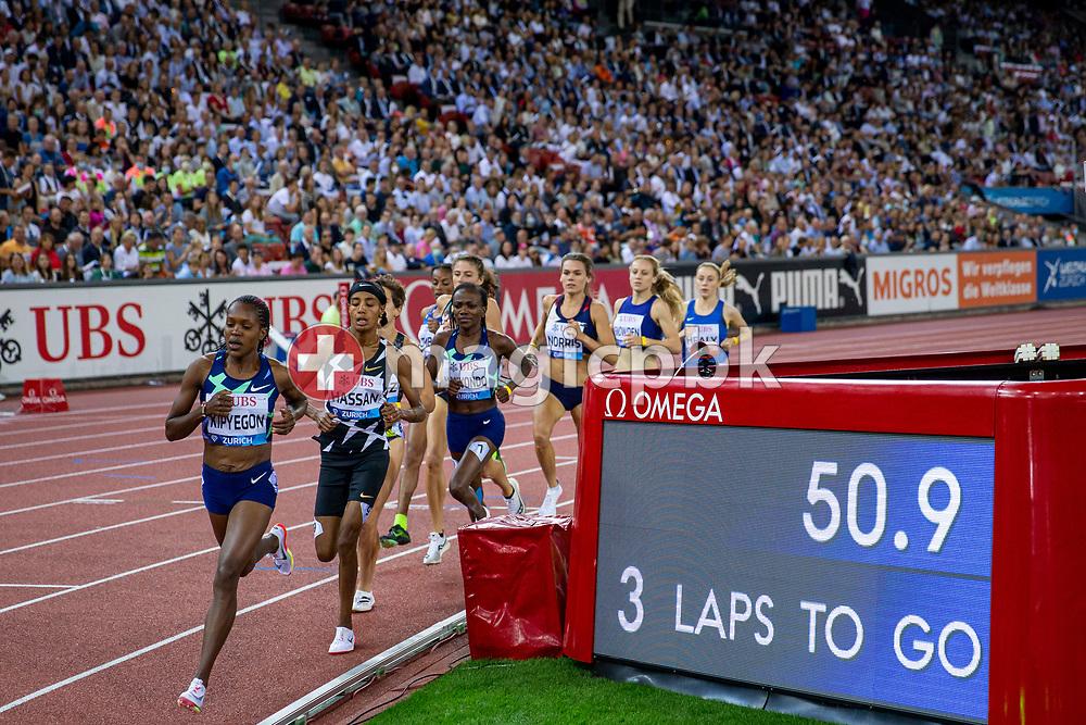 Faith Kipyegon (L) of Kenya on her way winning the 1500m Women during the Iaaf Diamond League meeting (Weltklasse Zuerich) at the Letzigrund Stadium in Zurich, Switzerland, Thursday, Sept. 9, 2021. (Photo by Patrick B. Kraemer / MAGICPBK)