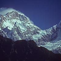 Manaslu and Peak 29 dominate the Himalayan crest north of the Annapurna Massif in Nepal.