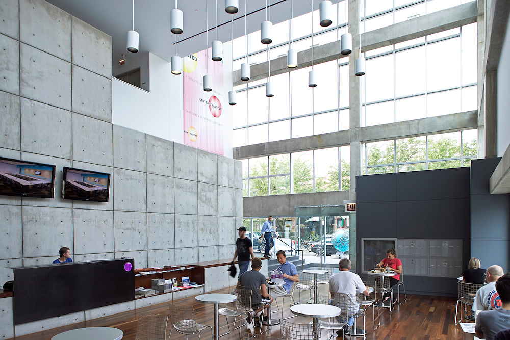 Center on Halsted Interior, serving Chicago's Lesbian, Gay, Bisexual and Transgender Community Center (LGBT), 3656 N. Halsted in the Lakeview, New Town, Boys' Town neighborhood, designed by Gensler Associates Architects, built in 2004.