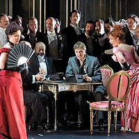 .Picture shows : Carmen Giannattasio  as Violetta Valéry (far left), Alan Fairs as Doctor Grenvil and Federico Lepre(centre right) as Alfredo Germont and Katherine Allen as Flora Bervoix (far right)..La traviata by Giuseppe Verdi.A NEW SCOTTISH OPERA AND WELSH NATIONAL CO-PRODUCTION. Picture © Drew Farrell Tel : 07721 ?735041..Scottish Director David McVicar and Tanya McCallin, the creative team behind Scottish Opera?s Der Rosenkavalier, offer an authentic take on one of the world?s most famous operas. Bohemian artists, showgirls, courtesans ? the rich and the wretched mix together within the shady underworld of the Parisian demi-monde..Carmen Giannattasio makes her Scottish Opera début playing the lead role of Violetta, Federico Lepre sings Alfredo, and Richard Zeller returns to Scottish Opera as Giorgio Germont. French conductor  Emmanuel Joel-Hornak returns for this production...Cast.Carmen Giannattasio  as Violetta Valéry.Federico Lepre as Alfredo Germont.Richard Zeller as Giorgio Germont.Katherine Allen as Flora Bervoix.Adrian Powter as Baron Douphol.Nicholas Ransley as Gastone.Paul Carey Jones as Marchese D?Obigny.Alan Fairs as Doctor Grenvil.Catriona Barr as  Annina..Conductors  Emmanuel Joel-Hornak and (Derek Clark Nov 13 & 15).Director David McVicar.DesignerTanya McCallin.ChoreographerAndrew George..THEATRE ROYAL GLASGOW Thu 30 Oct 7.15pm ? Sat 1 Nov 7.15pm ? Fri 6 Feb 7.15pm Sun 8 Feb 4pm ? Thu 12 Feb 7.15pm ? Sat 14 Feb 7.15pm La traviata Unwrapped - Thurs 5 Feb 6pm ..EDEN COURT, INVERNESS Thu 6 Nov 7.15pm ? Sat 8 Nov 7.15pm  La traviata Unwrapped ? Wed 5 Nov 6pm..HIS MAJESTY?S THEATRE, ABERDEEN Thu 13 Nov 7.30pm ? Sat 15 Nov 7.30pm  La traviata Unwrapped ? Wed 12 Nov 6pm ..FESTIVAL THEATRE EDINBURGH Wed 19 Nov 7.15pm ? Sun 23 Nov 4pm  Thu 27 Nov 7.15pm ? Sat 29 Nov 7.15pm  La traviata Unwrapped - Tues 25 Nov 6pm ..GRAND OPERA HOUSE, BELFAST Thu 26 Feb time tbc ? Sat 28 Feb La traviata Unwrapped ? Fri 27 Feb time tbc..Note to Editors: This image is free t
