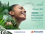 Photographie pour la campagne de publicité pour la compagnie aérienne Aircalin représentant le portrait d'une jeune femme Kanak souriante, réalisée à Nouméa dans mon studio de photographie publicitaire.