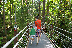 United States, Washington, Bellevue, woman and boy in Bellevue Botanical Garden, Ravine Experience suspension bridge