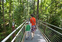 United States, Washington, Bellevue, woman and boy in Bellevue Botanical Garden, Ravine Experience suspension bridge
