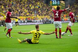 19.10.2013, Signal Iduna Park, GER, 1. FBL, GER, 1. FBL, Borussia Dortmund vs Hannover 96, 9. Runde, im Bild Erik Durm (#37 Dortmund) nach Foul von Hiroki Sakai (#4 Hannover) // during the German Bundesliga 9th round match between Borussia Dortmund and Hannover 96 Signal Iduna Park in Dortmund, Germany on 2013/10/19. EXPA Pictures © 2013, PhotoCredit: EXPA/ Eibner-Pressefoto/ Kurth<br /> <br /> *****ATTENTION - OUT of GER*****