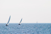 three Sailing boats at sea outside Bandol Cote d'Azur Var France