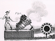 A mortar firing 'partridges', showing the barrel in cross-section.  A large bomb was placed in the centre chamber and a number of smaller ones like hand grenades in the surrounding chambers. When fired, the projectiles were hurled towards the target like a covey of partridge.  Stipple engraving from 'Encyclopaedia Londinensis' Vol II (London, c1800).