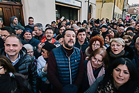 BONDENO, ITALY - 6 JANUARY 2020: Matteo Salvini, former Interior Minister of Italy and leader of the far-right League party, is seen here with the crowd watching the Befana in Bondeno, Italy, on January 6th 2020.<br /> <br /> In Italian folklore, Befana is an old woman who delivers gifts to children throughout Italy on Epiphany Eve (the night of January 5) in a similar way to St Nicholas or Santa Claus.<br /> <br /> Matteo Salvini is campaigning in the region of Emilia Romagna to support the League candidate Lucia Borgonzoni running for governor.<br /> <br /> After being ousted from government in September 2019, Matteo Salvini has made it a priority to campaign in all the Italian regions undergoing regional elections to demonstrate that, in power or not, he still commands considerable support.<br /> <br /> The January 26th regional elections in Emilia Romagna, traditionally the home of the Italian left, has been targeted by Matteo Salvini as a catalyst for bringing down the government. A loss for the center-left Democratic Party (PD) against Mr Salvini's right would strip the centre-left party of control of its symbolic heartland, and probably trigger a crisis in its coalition with the Five Star Movement.