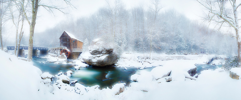 Babcock State Park gist mill in the snow