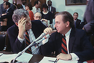 William Bennett, Drug Tsar, and Dick Darman of the Bush 41 administration talk at a House of Representatives hearing on legislation on the War of Drugs..Photograph by Dennis Brack bb25