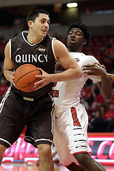 27 November 2015: Joseph Tagarelli muscles in against Roland Griffin(35). Illinois State Redbirds host the Quincy Hawks at Redbird Arena in Normal Illinois (Photo by Alan Look)