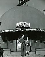 1940 Bill Lundigan outside The Brown Derby Restaurant on Wilshire Blvd.
