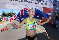 January 26, 2019 - Oceanside, California, United States - January 26, 2019, Santee, California_USA_2019 USATF 50km Race Walk Championships_| Claire Tallent, of Australia, holds the Australian flag after winning the women's international competition. |_Photo Credit: Photo by Charlie Neuman (Credit Image: © Charlie Neuman/ZUMA Wire)