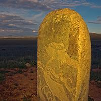 MONGOLIA. 2700+ year-old, bronze age Deer Stone at Ulaan Tolgai site near Lake Erkhel & Muren.  <br /> <br /> MS0702_060628_0415.NEF