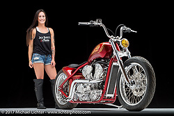 """""""Project Princess"""", built from an Indian Scout by Karlee Cobb of Klock Werks in Mitchell, SD. Photographed by Michael Lichter in Sturgis, SD on August 11, 2017. ©2017 Michael Lichter."""