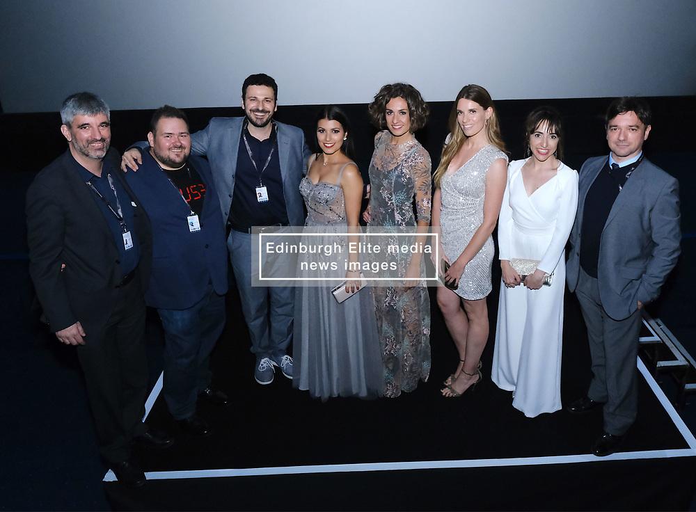 Edinburgh International Film Festival 2019<br /> <br /> H0us3 (International Premiere)<br /> <br /> Stars arrive on the red carpet for the international premiere<br /> <br /> Pictured: Cast and crew at the Odeon<br /> <br /> Alex Todd | Edinburgh Elite media