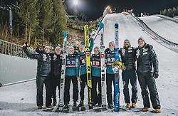 29.02.2020, Salpausselkae Hill, Lahti, FIN, FIS Weltcup Ski Sprung, Herren, Teamspringen, Siegerehrung, im Bild 2. Platz Slowenien, Anze Lanisek (SLO), Peter Prevc (SLO), Cene Prevc (SLO), Timi Zajc (SLO) // 2nd placed Slovenia Anze Lanisek (SLO) Peter Prevc (SLO) Cene Prevc (SLO) Timi Zajc (SLO) during the winner ceremony for the men's team event of FIS Ski Jumping World Cup at the Salpausselkae Hill in Lahti, Finland on 2020/02/29. EXPA Pictures © 2020, PhotoCredit: EXPA/ JFK