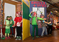 """Gilford Elementary students perform their skit """"Feel the Moment with Poetry"""" during opening night for Arts Alive at the Belknap Mill Thursday evening.    (Karen Bobotas/for the Laconia Daily Sun)"""