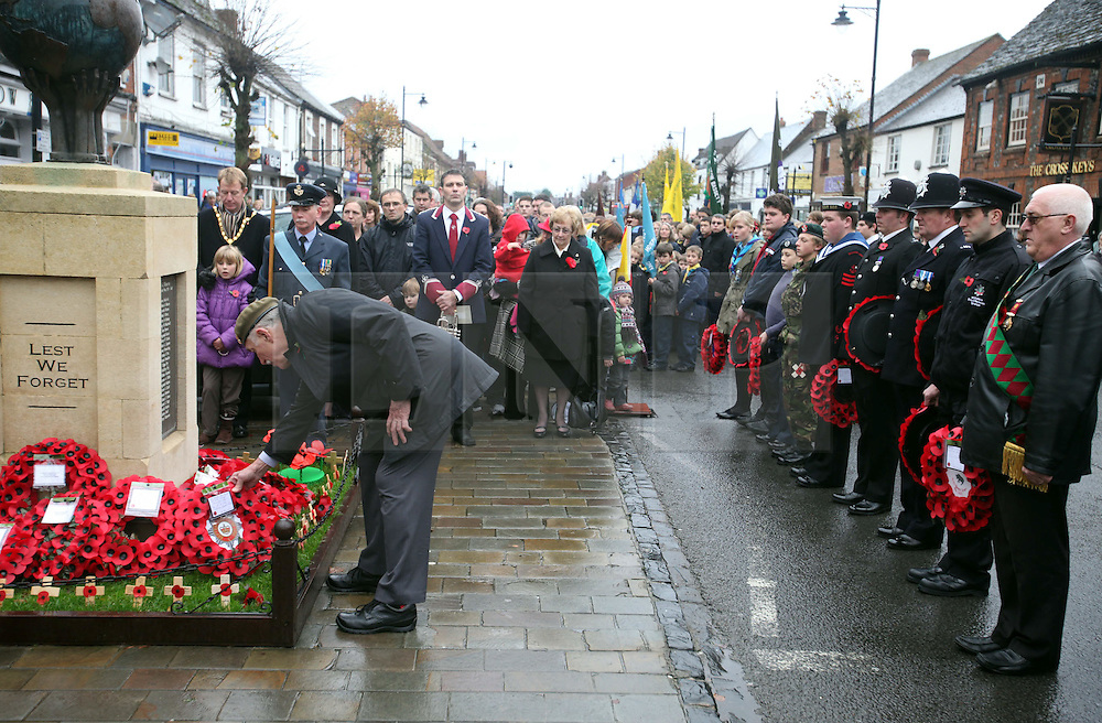 © under license to London News Pictures 14/11/2010.The town of Wootton Bassett, Wiltshire pay their respects to fallen soldiers with the British Royal Legion on Remeberance Sunday. Wreaths of Poppies were laid on the town war memorial.