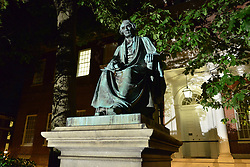 August 16, 2017 - Annapolis, Maryland, U.S. - Statue of former U.S. Supreme Court Chief Justice Roger Brooke Taney in front of the Maryland state capitol in Annapolis. The statue has stood in front of the capitol building since 1872, but earlier in the evening the Maryland State House Trust voted in favor of removing the statue of Taney, a Marylander who was the author of the infamous Dred Scott decision that upheld slavery. (Credit Image: © Jay Mallin via ZUMA Wire)