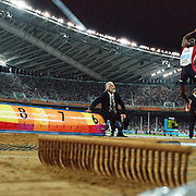 A panoramic view of John Moffitt of the United States in the men's long jump final at Olympic Stadium at the Athens 2004 Olympic Games in Athens, Greece, August 26, 2004. Photo Tim Clayton