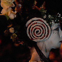 Members of the Beltane Society are seen celebrating the blossoming and fertility of spring ontop of Calton Hill, Edinburgh Scotland. The procession is a revival of the ancient Celtic festival of Beltane around three hundred voluntary performers celebrate the ending of winter in a spectacular procession of fire and colour.