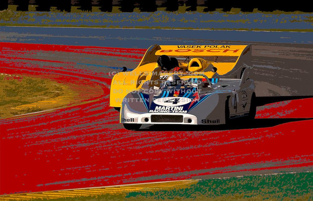 Image of wheel to wheel auto racing at the Rennsport Reunion III at Daytona International Speedway, Daytona, Florida, American Southeast, Porsche 908 and 917