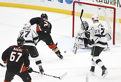 November 7, 2017 - Los Angeles, California, U.S - Anaheim Ducks forward Chris Wagner (21) tries to get a shot against Los Angeles Kings goalie Jonathan Quick (32) during a 2017-2018 NHL hockey game in Anaheim, California on Nov. 7, 2017. Los Angeles Kings won 4-3 in overtime. (Credit Image: © Ringo Chiu via ZUMA Wire)